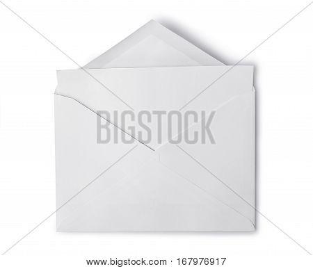 White Envelope With Folded Blank Sheet For Correspondence