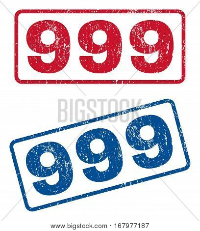 999 text rubber seal stamp watermarks. Vector style is blue and red ink caption inside rounded rectangular shape. Grunge design and unclean texture. Blue and red emblems.