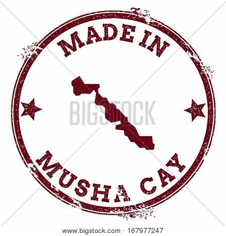 Musha Cay Seal. Vintage Island Map Sticker. Grunge Rubber Stamp With Made In Text And Map Outline, V