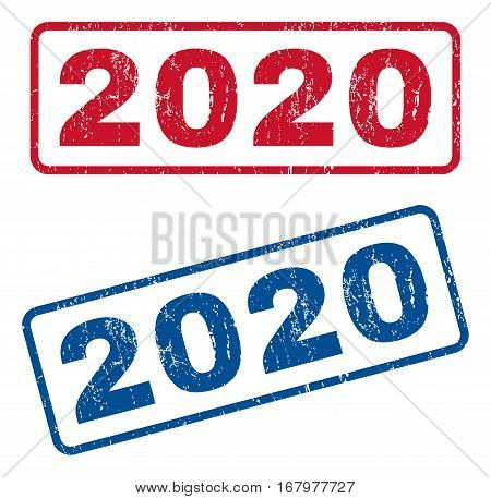 2020 text rubber seal stamp watermarks. Vector style is blue and red ink tag inside rounded rectangular banner. Grunge design and scratched texture. Blue and red emblems.