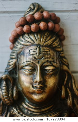 Hindu God - Shiva With Rudraksha Rosary On The Head.