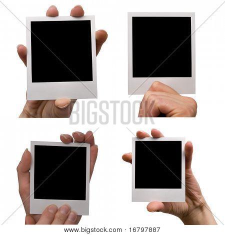 female holding blank photo set, isolated on white