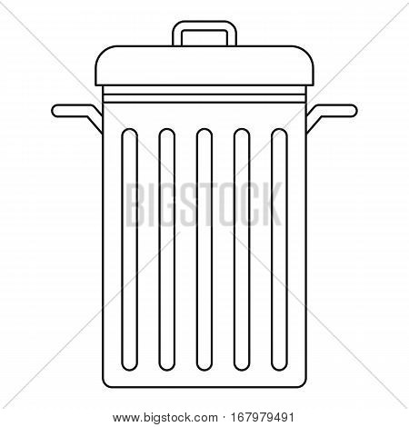 Trash can with lid icon. Outline illustration of trash can with lid vector icon for web