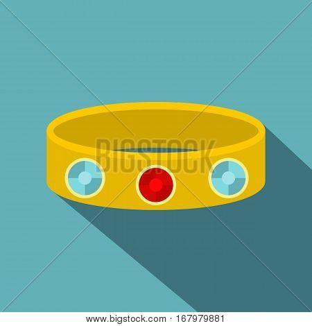 Vintage gold bangle icon. Flat illustration of vintage gold bangle vector icon for web on baby blue background