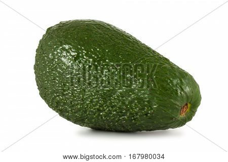 Ripe green avocado on a white background
