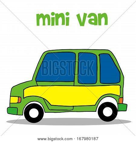 Transportation of mini van vector collection stock