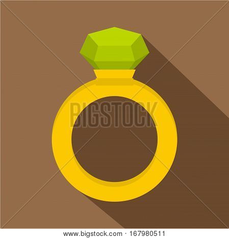 Gold ring with green gem icon. Flat illustration of gold ring with green gem vector icon for web on coffee background
