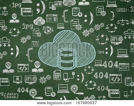 Programming concept: Chalk Blue Database With Cloud icon on School board background with  Hand Drawn Programming Icons, School Board