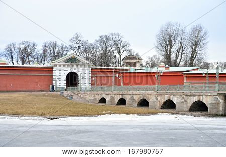 Ioannovsky Bridge and Bastion of Peter and Paul Fortress in St.Petersburg Russia.