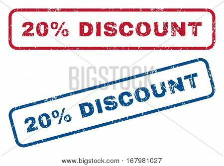 20 Percent Discount text rubber seal stamp watermarks. Vector style is blue and red ink caption inside rounded rectangular banner. Grunge design and dust texture. Blue and red emblems.