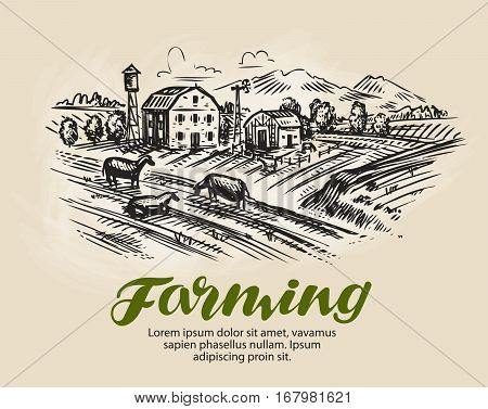 Farm sketch. Agriculture, farming rural landscape vector illustration