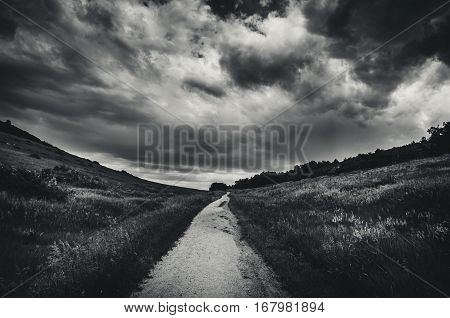 Black and white landscape of a road leading into a grassy field before a storm.