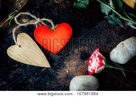 Two Valentine's Day Hearts Bounded Togerher. Valentine's Day Background.