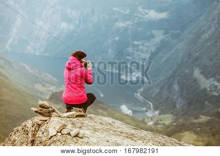 Tourist Taking Photo From Dalsnibba Viewpoint Norway