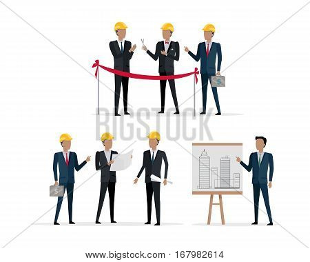 Investors in yellow helmet cutting red line with scissors on presentation building project. One man holding case with money. Showing on the stand new skyscraper by another male. Vector illustration poster