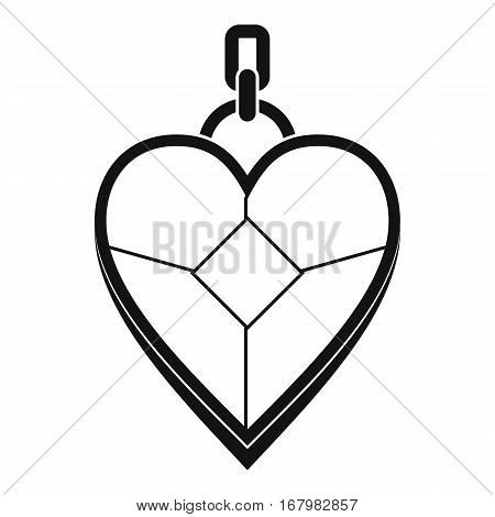 Heart shaped pendant icon. Simple illustration of heart shaped pendant vector icon for web