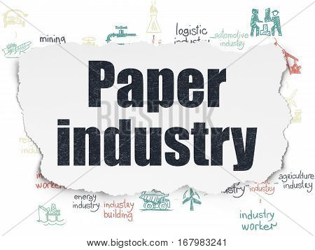 Industry concept: Painted black text Paper Industry on Torn Paper background with Scheme Of Hand Drawn Industry Icons