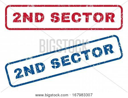 2nd Sector text rubber seal stamp watermarks. Vector style is blue and red ink tag inside rounded rectangular shape. Grunge design and unclean texture. Blue and red signs.