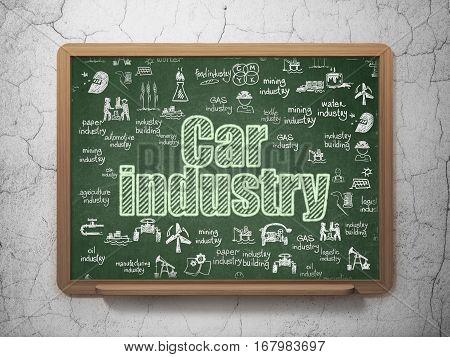 Industry concept: Chalk Green text Car Industry on School board background with  Hand Drawn Industry Icons, 3D Rendering