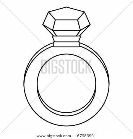 Diamond ring icon. Outline illustration of diamond ring vector icon for web
