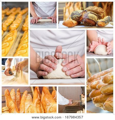 Collage Of Baker's Hands With A Bread.