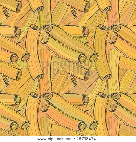 Seamless color pattern in the form of pasta. Maybe backdrop for branded products postcard.