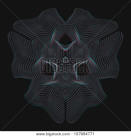 vector glitch anaglif warped parametric shape abstract shape waves black background decoration