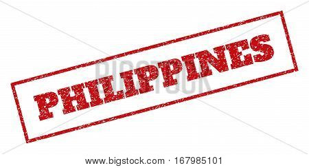 Red rubber seal stamp with Philippines text. Vector caption inside rectangular banner. Grunge design and dust texture for watermark labels. Inclined sticker.