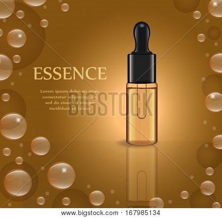 Realistic Essential oil or herbal medicine package template for your design. Essence poster, mock-up product bottle. Cosmetics 3d flacon. Transparent  liquid vial. Vector illustration