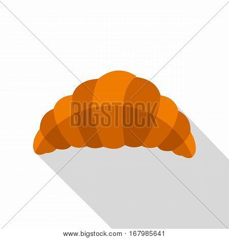 Fresh and tasty croissant icon. Flat illustration of fresh and tasty croissant vector icon for web on white background