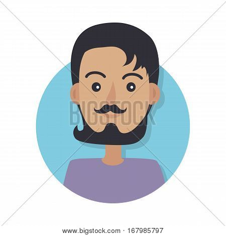 Avatar userpic icon. Young man without any headwear with dark hair wearing black mustache and dark beard. Violet sweater. Isolated male in blue circle on white in flat design. Vector illustration.