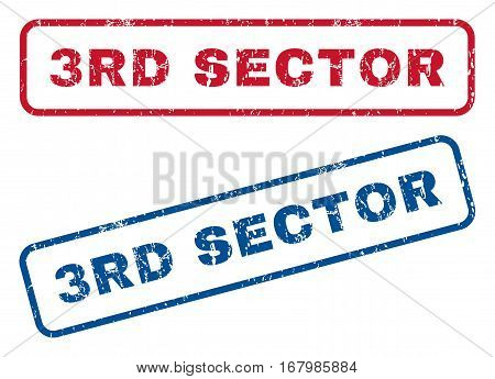3rd Sector text rubber seal stamp watermarks. Vector style is blue and red ink tag inside rounded rectangular shape. Grunge design and dirty texture. Blue and red stickers.