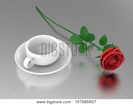 3D illustration rouse and white cup and saucer on a mirror surface