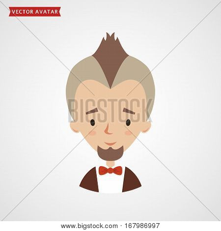 Face of bearded man with mohawk. Vector avatar for fashionable young man. Сute flat icon isolated on white background.