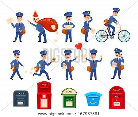 Set of icons with postman characters and mail boxes. Mailman bringing common and love letters, on bicycle, hurrying. Collection of various postboxes different in shape, colour, size. Vector illustration