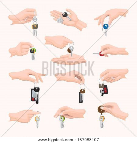 Set hands with keys. Various types of keys in hands. Different shape, size, design, color, number, combination of keys in people s hands. Diverse fingers holding keys. White background. Vector