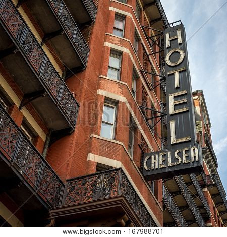 NEW YORK CITY, USA - 24 MARCH 2012: The facade and sign to the legendary Chelsea Hotel in downtown Manhattan, NYC.