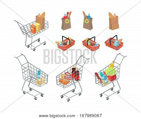 Variety of bags and trolleys where people can carry necessary products. Buying fresh vegetables, fruits, dairy products, fizzy water, bread and cookies in shopping mall. Vector illustration.