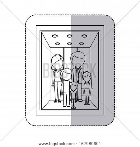 middle shadow monochorme sticker with family in elevator vector illustration