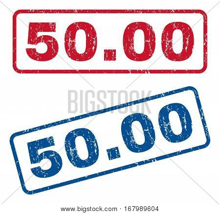50.00 text rubber seal stamp watermarks. Vector style is blue and red ink tag inside rounded rectangular banner. Grunge design and unclean texture. Blue and red signs.
