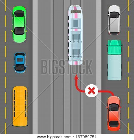 Car breaks traffic rules. Red car goes on trolleybus line. Complete breakdown of traffic organization. Auto overtaking trolleybus. Overtaking is forbidden. Danger on road. Vector illustration