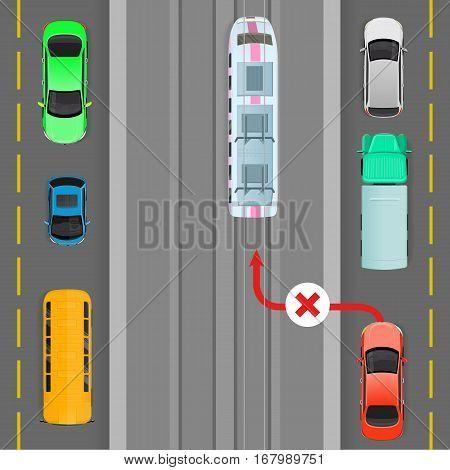 Car breaks traffic rules. Red car goes on trolleybus line. Complete breakdown of traffic organization. Auto overtaking trolleybus. Overtaking is forbidden. Danger on road. Vector illustration
