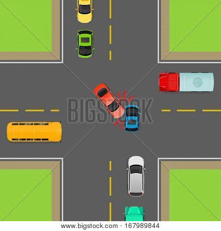 Accident on road due to non-fulfilment traffic rules. Death of people. How to turn left in correct order. Cars, bus, truck on crossroad. Right use of transport. Vector illustration. Dangerous on road.