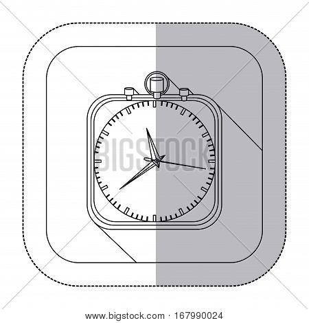middle shadow monochrome sticker with chronometer in frame vector illustration