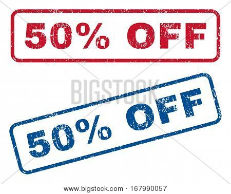 50 Percent Off text rubber seal stamp watermarks. Vector style is blue and red ink tag inside rounded rectangular banner. Grunge design and unclean texture. Blue and red signs.