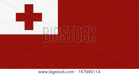 Illustration of the national flag of Tonga looking like it has been painted onto a brickwall.