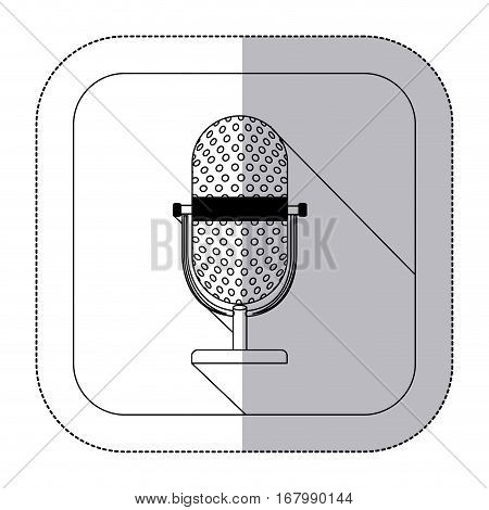 middle shadow monochrome sticker with microphone in frame vector illustration