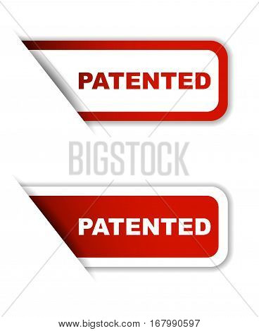 This is red set vector paper stickers patented