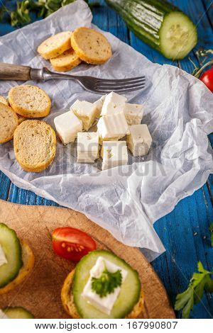 Bread Rusks And Feta Cheese