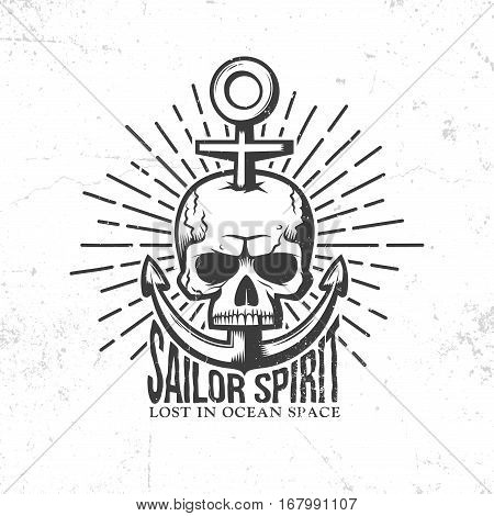 Marine tattoo logo - a skull pierced anchor in retro style. Vector illustration. Worn textures on a separate layer - easy to disable.